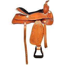 Radical Leather - Sillín de Piel para Caballos Occidentales (Piel, Correas de Piel, tamaño de Piel y Funda de Cuero), Color marrón