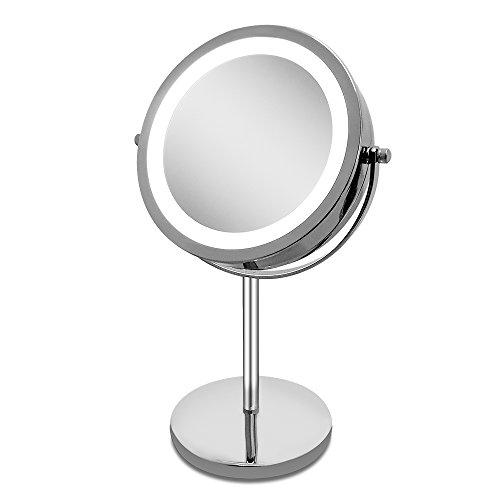 Amztolife 10x specchi ingranditori specchio per il trucco illuminato, specchio di viaggio, specchio con la luce per la festa della mamma