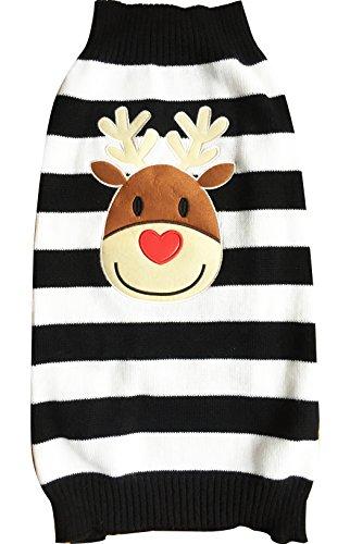 Moolecole Mode Weihnachten Reindeer Haustier Hund Knitted Pullover Winter Warme Jacke Haustier Hunde Welpen Bekleidung T-shirt Sweater Schwarz (Schwarze Niedliche Kostüme Für Halloween Menschen)