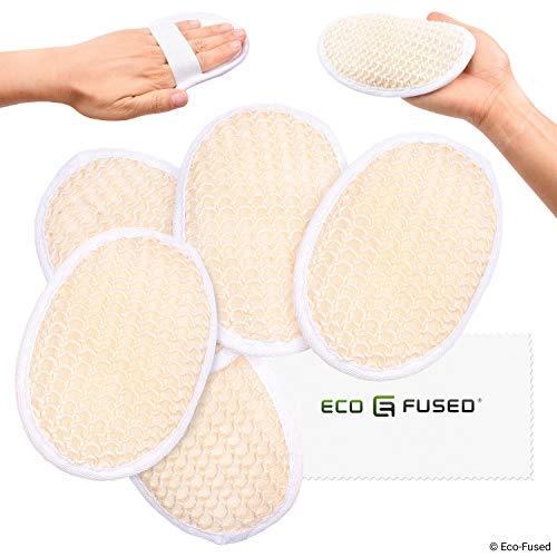 Luffa-Pads (5er Pack) - Peeling-Schwämme - Mittelfestes Sisal Material - Ätherisches Hautpflegeprodukt - Für Dusche/Bad - Faserige Textur - Perfekt für Gesicht/Körperwäsche -
