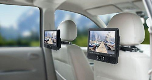 Muse M-990 CVB tragbarer DVD-Player Auto (22,9 cm (9 Zoll), USB, SD/MMC-Kartenleser, AV-Anschluss) mit 2 Bildschirmen und stabiler Halterung für die Kopfstütze (Spange) - 3