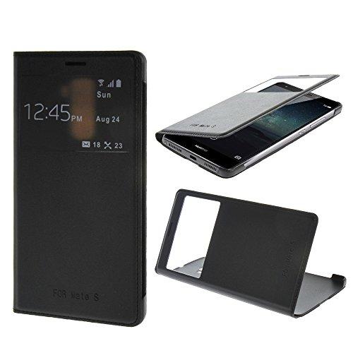 Huawei Mate S Hülle,COOLKE Flip Case Cover Dünn View Window Ledertasche Handytasche Schutzhülle Hülle für Huawei Mate S - Schwarz