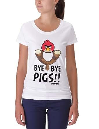 Angry Birds Women's T-Shirt  - White - White - 10 (Brand size: M)