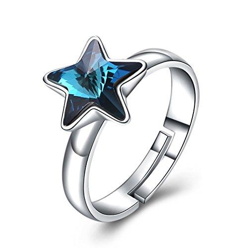 DOLOVE Herren Damen Unisex Kinder - 925 Sterlingsilber Sterling-Silber 925 Fantasieschliff Blue Kristall (Ringe Zales Versprechen)