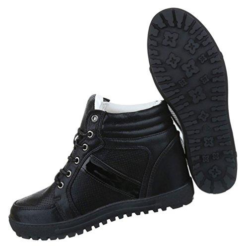 Damen Freizeitschuhe Schuhe Keilabsatz Stiefelette Wedges Sneaker Schnürer Schwarz Silber 36 37 38 39 40 41 Schwarz
