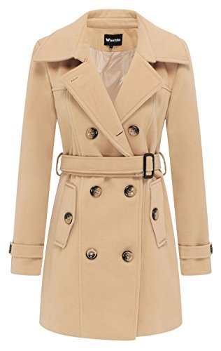 Wantdo Damen Zweireiher Mantel mit Gürtel Wintermantel Trenchcoat Khaki Small