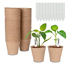 Cymax 50 Pack 8cm Round Fibre Pot Seed Seedling Pot with 50pcs Plastic Plant Lables, Biodegradable Herb Plant,Flower,Seed Starter Pots Kits, Garden