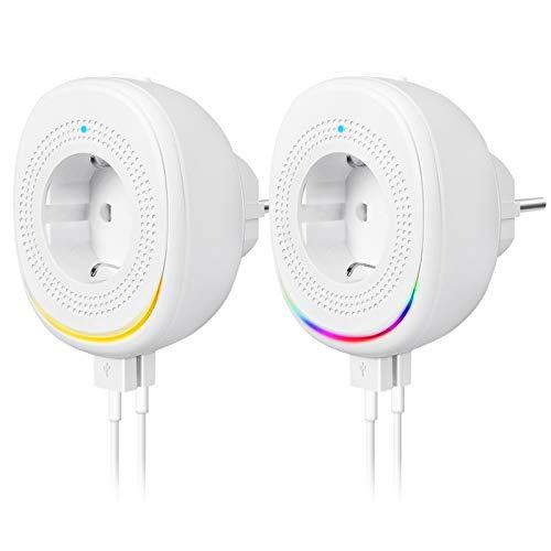 Alexa Steckdose mit 2 USB Ports und Smart Lampe, WLAN Steckdose mit Intelligente Nachtlicht Wifi Stecker Mini Plug Kompatibel mit Alexa, Google Home, IFTTT, Smart Life, App Fernsteuerung (2er Pack)