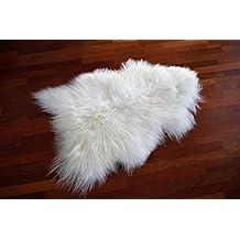 Naturasan Alfombra de Piel de oveja islandesa, Icelandic Sheepskin, Alfombra Piel de Cordero, blanco, largo 110 - 120