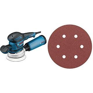 Bosch Professional Exzenterschleifer GEX 125-150 AVE (400 Watt, Schleifteller-Ø: 125/150 mm, in L-BOXX) + Bosch Pro Schleifblatt Expert for Wood and Paint Holz und Farbe für Exzenterschleifer (5 Stück, Ø 150 mm, Körnung 120, C430)