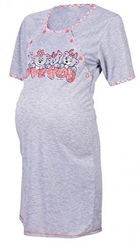Happy Mama. Damen Umstands Still-Nachthemd Cartoon-Druck Kurzarm. 193p Koralle