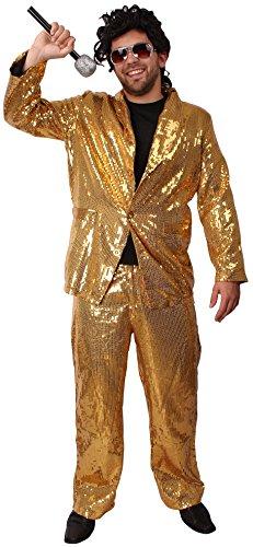Outfits Disco Jahre 70er (Pailletten Anzug gold für Herren | Größe 54/56 | 2-teiliges Disco Kostüm | 70er 80er Jahre Faschingskostüm für Männer | Elvis)