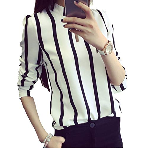 Rbdse camicia camicetta da ufficio donna coreana donna scava fuori camicetta a maniche lunghe in chiffon a righe, xxl, bianca