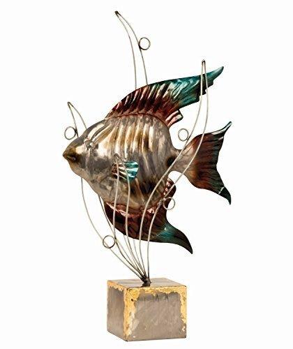 Scultura Moderna Pesce con Onde in metallo Altezza 53 cm