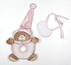 Idea Regalo - Orsetto sonaglio con bavaglia decorativa in tela aida rosa