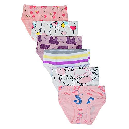 Kidear Bequeme Baumwollene Gemischte Kinder-Unterhosen für Kleine Mädschen. (Eine Packung von 6 Stücke) (Stil11, 3-4 Jahre) (Mädchen Slip 3 4t)