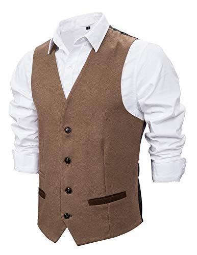 STTLZMC Chaleco Hombre Sin Mangas Retro Tweed Vestir Británica Chalecos Cuello en V De Slim fit Traje,Caqui,L