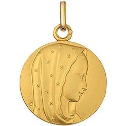 Premier Carat - Médaille de Baptême en Or Jaune - Medaille Religieuse Vierge Marie Portant un Voile Etoilé - Or 9 Carats - Diametre 18 mm - Cadeau de Bapteme Idéal