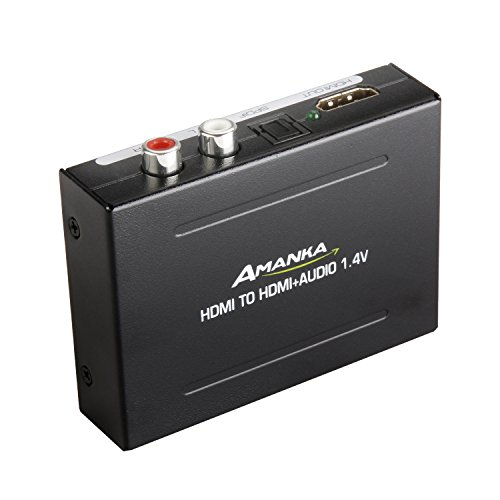 AMANKA HDMI Audio Extractor 4k, Convertidor HDMI a HDMI Audio Óptico Toslink RCA R/L y Adaptador de HDMI Video Splitter para Reproductor de DVD Blu-ray Xbox One SKY Caja HD PS3 PS4