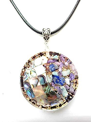 Orgone ciondolo abalone shell,charoite,amazzonite,protezione emf,fatto a mano