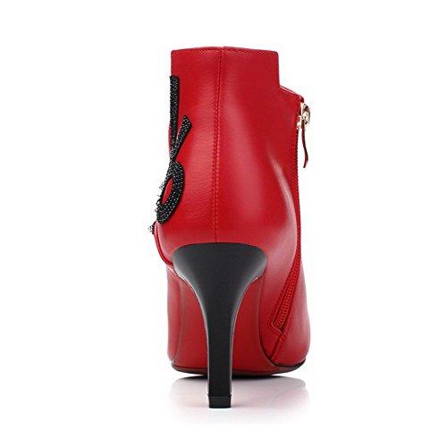 VogueZone009 Donna Alla Caviglia Cerniera Tacco Alto Scarpe A Punta Stivali con Catene Rosso