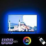 LED TV Hintergrundbeleuchtung für 70 75 80 82 Zoll Fernseher Beleuchtung TV Stimmungslicht mit HF-Fernbedienung, Maßgeschneiderte USB LED TV Backlight