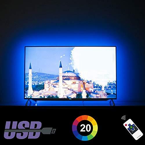 LED TV Hintergrundbeleuchtung für 50 55 Zoll Fernseher Beleuchtung TV Stimmungslicht mit HF-Fernbedienung, 20 Farben, Maßgeschneiderte USB LED Streifen deckt Jede Ecke eines 50/55