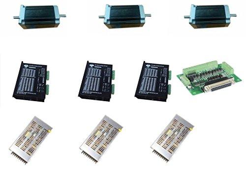 DCHOUSE 3 Axis Nema 34 Stepper Motor Dual Shaft 1600oz 3.5A CNC Kit Special Offer