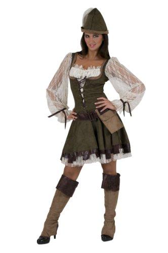 Costume donna Robin Hood vestito con cappello, cintura, borsa e copristivali