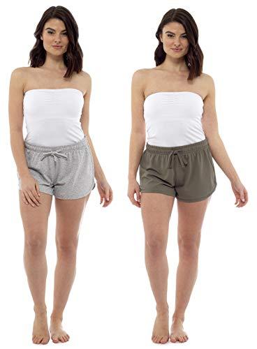 orts Damen Strandhosen 2er Pack Womens Beachwear Sommerurlaub wesentlich (16-18, grau/Khaki) ()