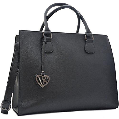 Vain Secrets Damen Handtasche mit Schulterriemen gesteppt oder in Saffiano Prägung Schwarz Saffiano