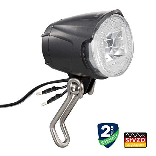 Linkbest led Fahrradbeleuchtung Dynamo StVZO zugelassen, Scheinwerfer Fahrrad ,Cree LED 40 Lux, wasserdicht IPX-5, Weitspannung 6V-48V für Nabendynamo und E-Bike, Zwei optionale Halterungen - Lampe Standlicht Set