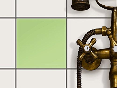 Küchenfolie | Dekor-Sticker Aufkleber Folie Fliesen-Folie Bad-Fliesen Wand Deko | 15x15 cm Farbe Hellgrün 3 - 1 Stück