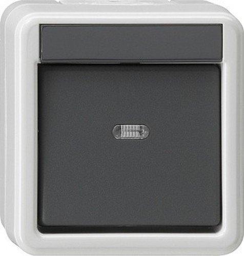 Gira Wippschalter 010630 Wechsel WG AP grau, 250 V, Schwarz, Weiß -