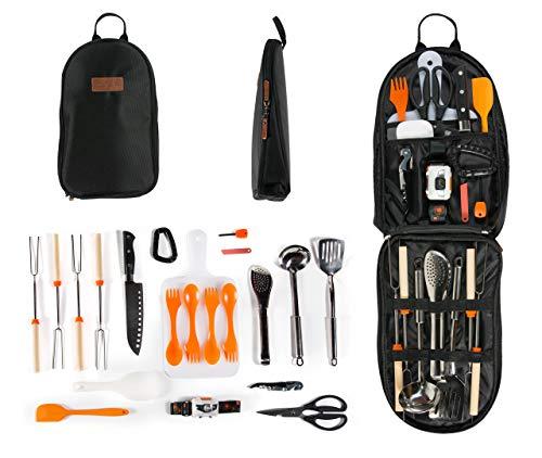 Camping-Kochutensilien-Organizer, Reise-Set, 20-teilig, tragbar, für Camping, Küche, Utensilien