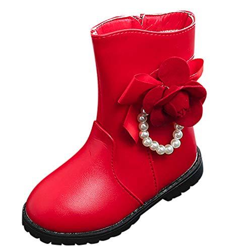 HEETEY Junge Mädchen Schuhe Winter warm Jungen Mädchen Martin Sneaker Boots Schnee-Baby über den Kalb-Schuhen Warme Stiefel für Blumen (35, Rot) -
