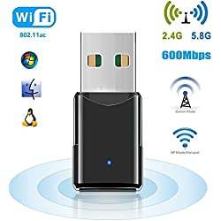 WiFi USB Adapter, 600 Mbps WLAN Stick, Dualband 2.4G/5.8G, Plug and Play Wireless Empfänger, Unterstützt Windows 2000/XP/Vista/7/8/10, Mac OS X10.4-10.11 von HANPURE