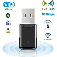 WiFi USB Adapter, 600 Mbps WLAN Stick, Dualband 2.4G/5.8G, Plug and Play Wireless Empfänger, Unterstützt Windows 2000/XP/Vista/7/8/10, Mac OS X10.4-10.11 von HANPURE