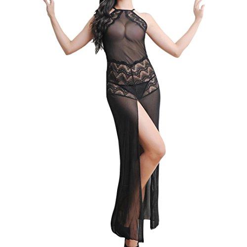 Lange Reizvoll Kleid Damen, Sunday Dessous Frauen Sexy Unterwäsche Nachtwäsche Spitzenkleid G-String Set Kleid+ Unterhosen (Schwarz, Einheitsgröße)