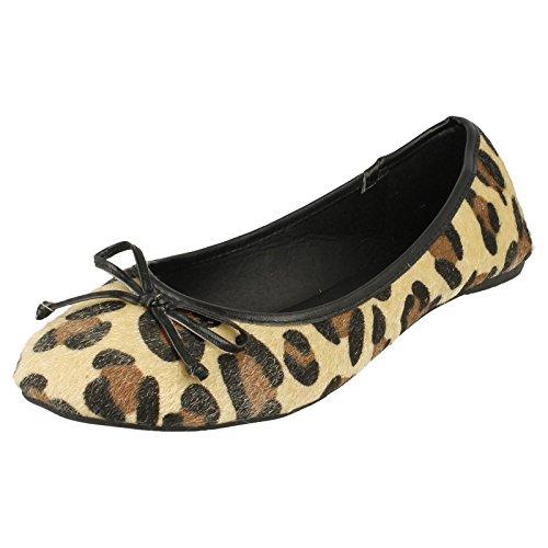 Spot On , Ballerines pour femme - Tan Leopard