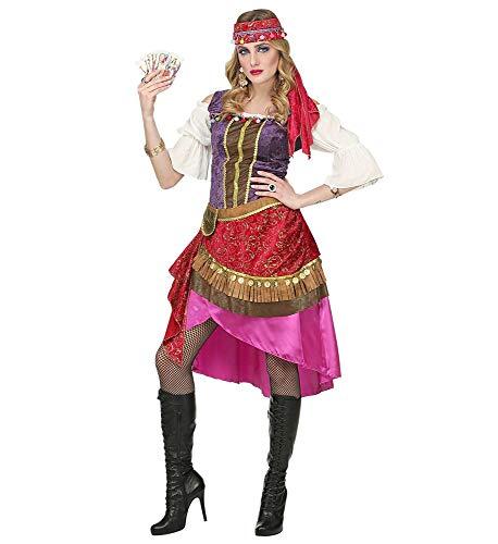 Hexe Kostüm Zigeuner - shoperama Premium Gypsy Damen Kostüm Kleid und Kopftuch Zigeunerin Wahrsagerin, Größe:S