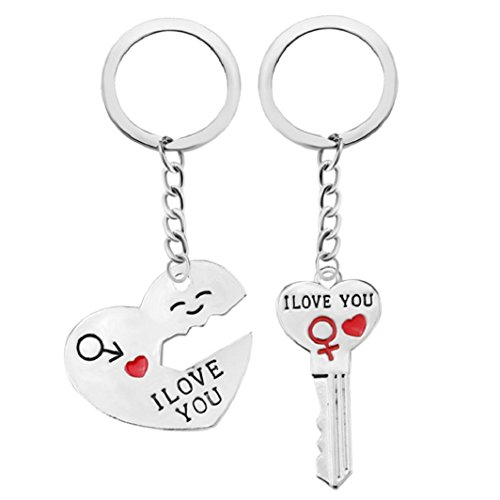 Schlüsselanhänger sisit Schlüsselanhänger Romantische Drehmoment. Keyring KEYFOB Valentinstag Liebhaber Geschenk Herz Schlüssel Set, silber