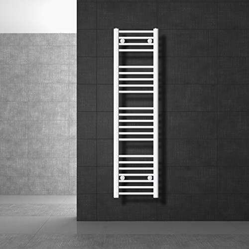 ECD Germany Radiador toallero para baño - 300 x 1400 mm - Blanco - Recto con conexión Lateral - secador de Toallas Radiador Moderno