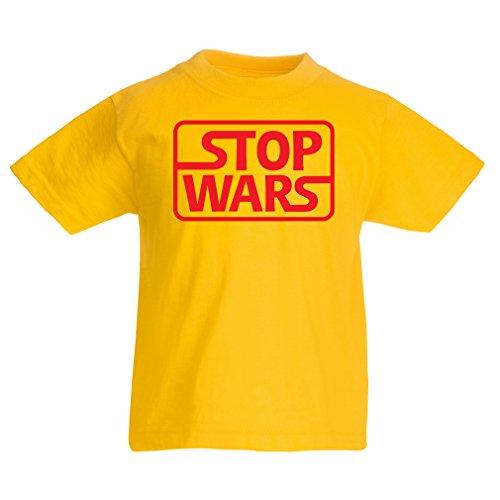 en/Mädchen T-Shirt Kriege stoppen - politische Fragen Zitate - Keep The Peace (9-11 Years Rot Gelb) ()