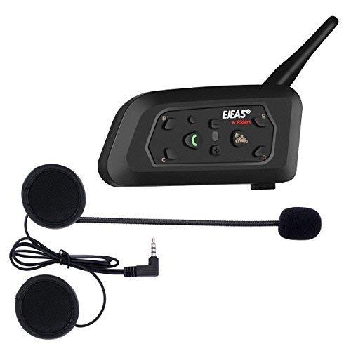 Ejeas V6 Pro Auriculares Intercomunicador Moto Bluetooth para Motocicletas, Gama Comunicación Intercom...