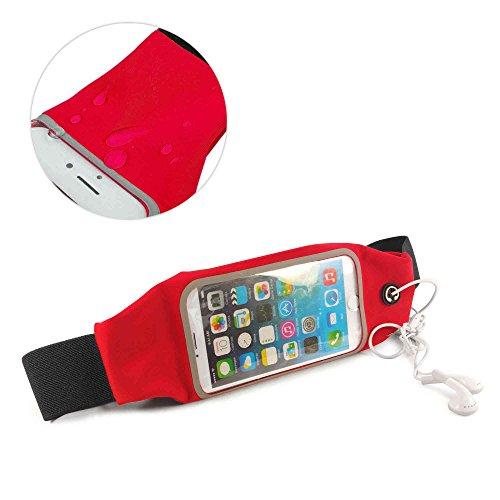 Tuff-Luv Wasserbeständige Sport Runners Gürteltasche Gürteltasche für iPhone 6s - Schwarz iP6 Red