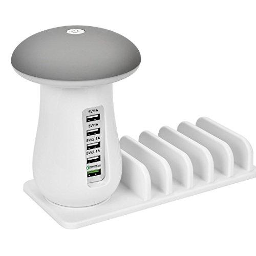 GAOWF USB Ladestation Ladestation Organizer mit Pilz LED Schreibtischlampe-3.0 Quick Charge Mehrere USB Ladestation Für Smartphones, Tablets & Andere Gadgets