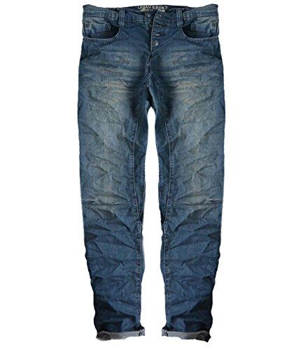 Eight2Nine Herren Jeans carrot fit Teilungsnähte mit Aufschlag am Bein Button fly by URS darkblue, 33/34