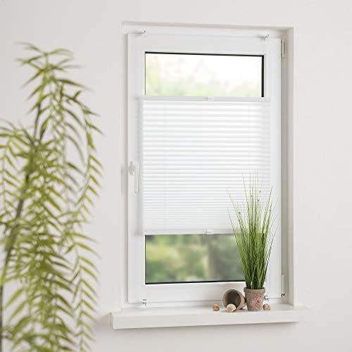 Cocoon Plissee Faltvorhang verspanntes Plissee Sonnenschutz - Schraubmontage | Weiß | 80 x 130 cm
