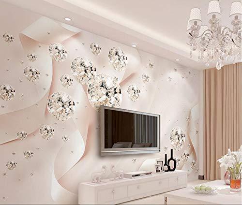 Jiangwei Tapete 3d moderne pink ribbon kristallkugel schmuck tv hintergrund wand wohnzimmer schlafzimmer -200cmx140cm -